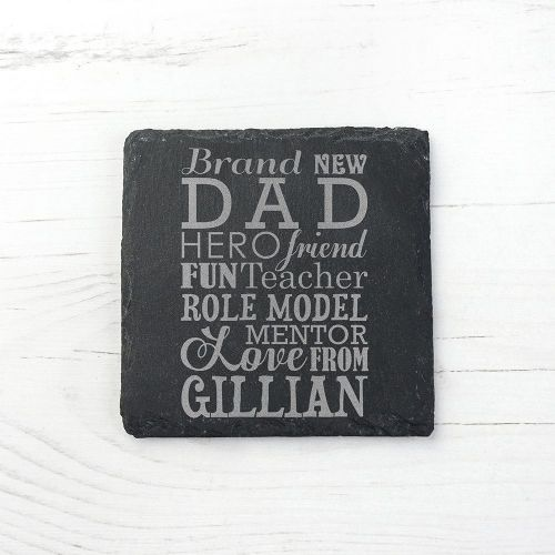 Personalised What A New Dad Means Square Slate Keepsake